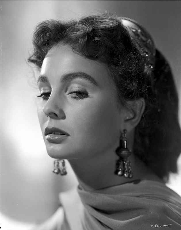 Jean Simmons Close Up Portrait in Sheer Silk Scarf and Dangling Fringe – Movie Star News