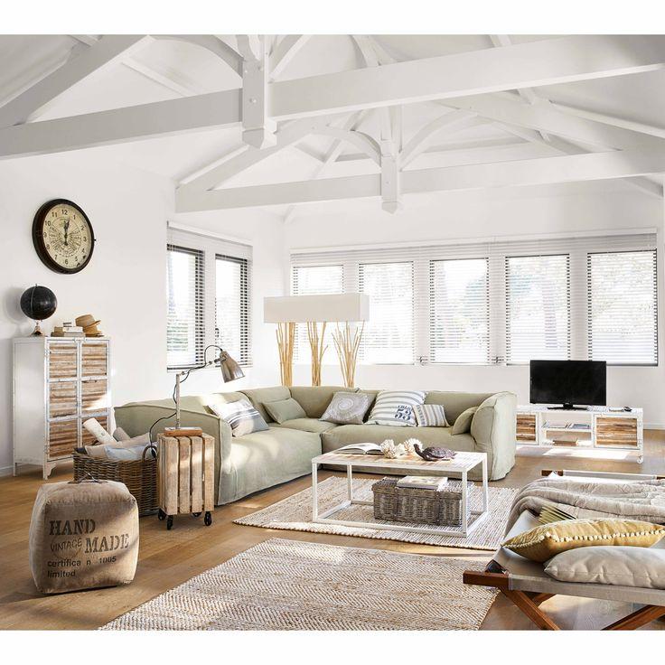 Table basse en bois et métal l 100 cm mistral maisons du monde