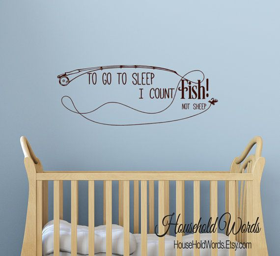 Boys Wall Decal Fishing Quote Fishing Pole by HouseHoldWords
