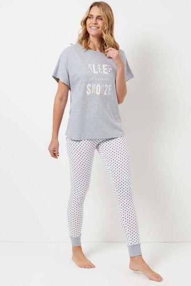 Grey Sleep Snooze Pyjama Set