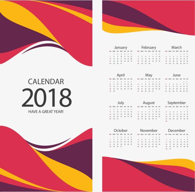 Plantilla de borde rayado rojo y amarillo, Vector De Material, Año Nuevo Calendario, 2018 Calendarios PNG y Vector