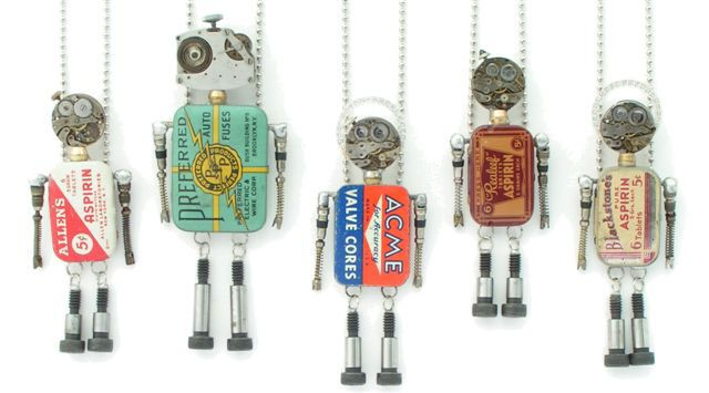 "robots made from tiny tins, watch parts and ""stuff"""
