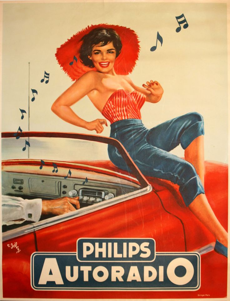 A pretty girl can sell anything:  Philips Autoradio - original 1950s advertising poster by R Jeleng listed on AntikBar.co.uk