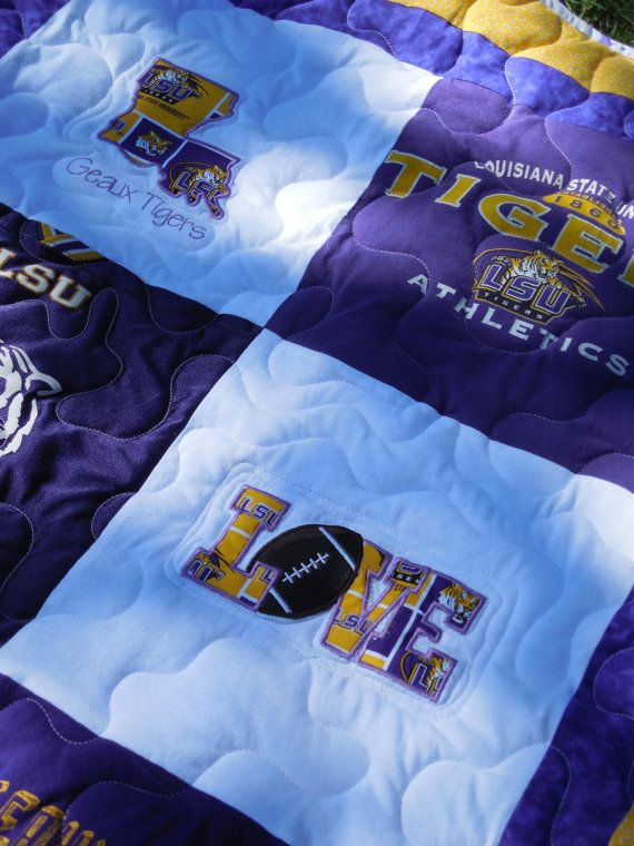 LSU Tigers  Tshirt Quilted Throw by JerseyMagic on Etsy