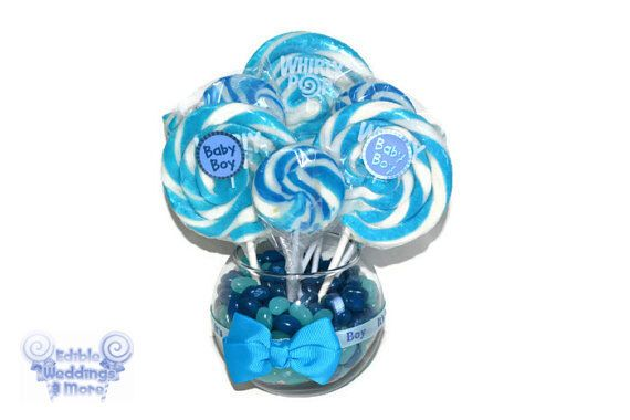 Small Round Blue Lollipop Candy Centerpiece by EdibleWeddings on Etsy https://www.etsy.com/listing/160758582/small-round-blue-lollipop-candy-baby