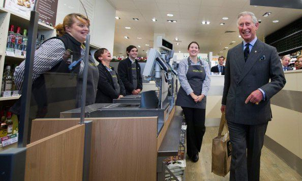 No royal checkout lane here! Prince Charles left Waitrose supermarket in 2011 with a bag filled with produce