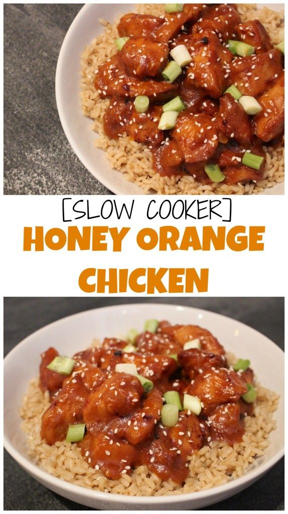Slow cooker honey orange chicken gives you the taste and flavor of Chinese takeout without all the breading and oil! @MomNutrition