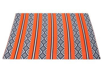Home :: Rugs & Mats  :: Recycled Cotton Rugs :: Outdoor Floor Mat Blue Argyle & Orange