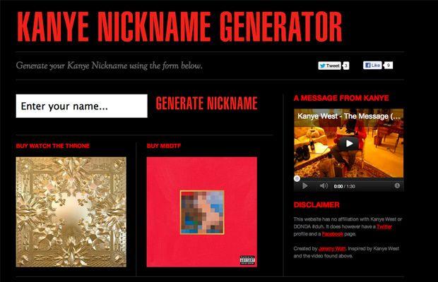 Kanye Nickname Generator