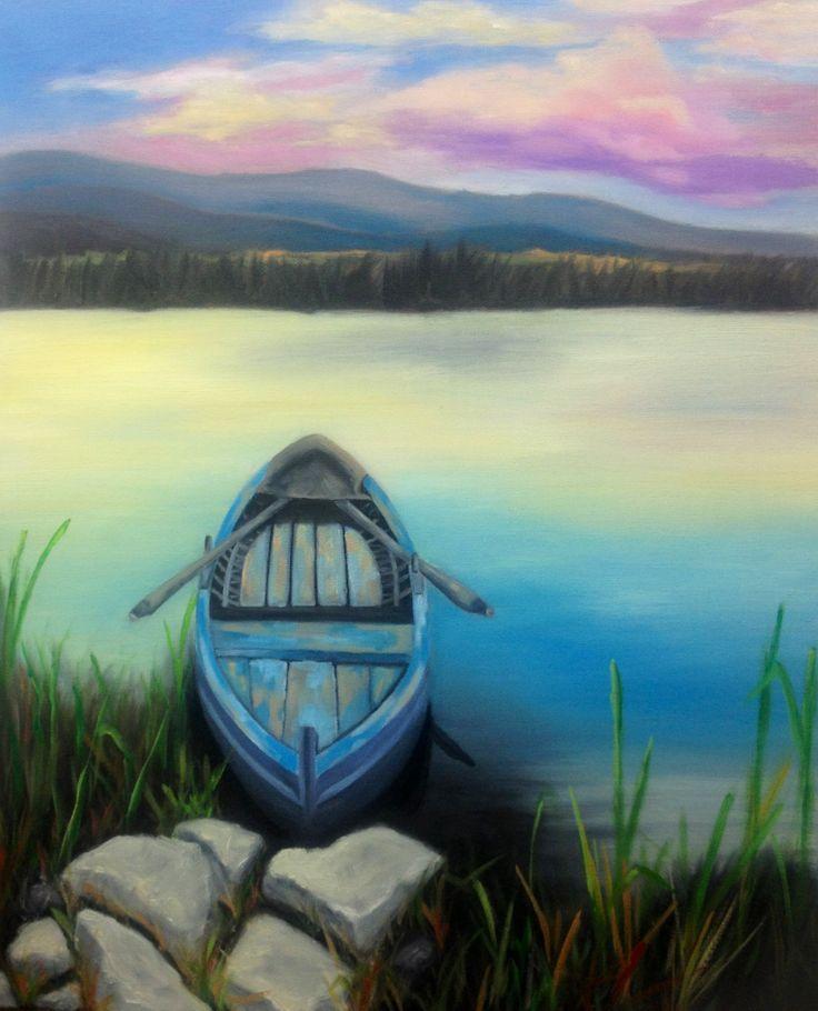 Sunset on the water.  Oil on canvas. Maryrosenakamurafineart @ gmail.com