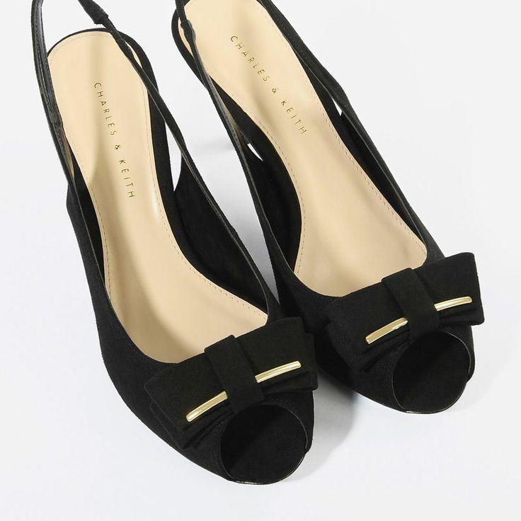 Basic Bow Slingbacks - Blue - Heels - Shoes | CHARLES & KEITH