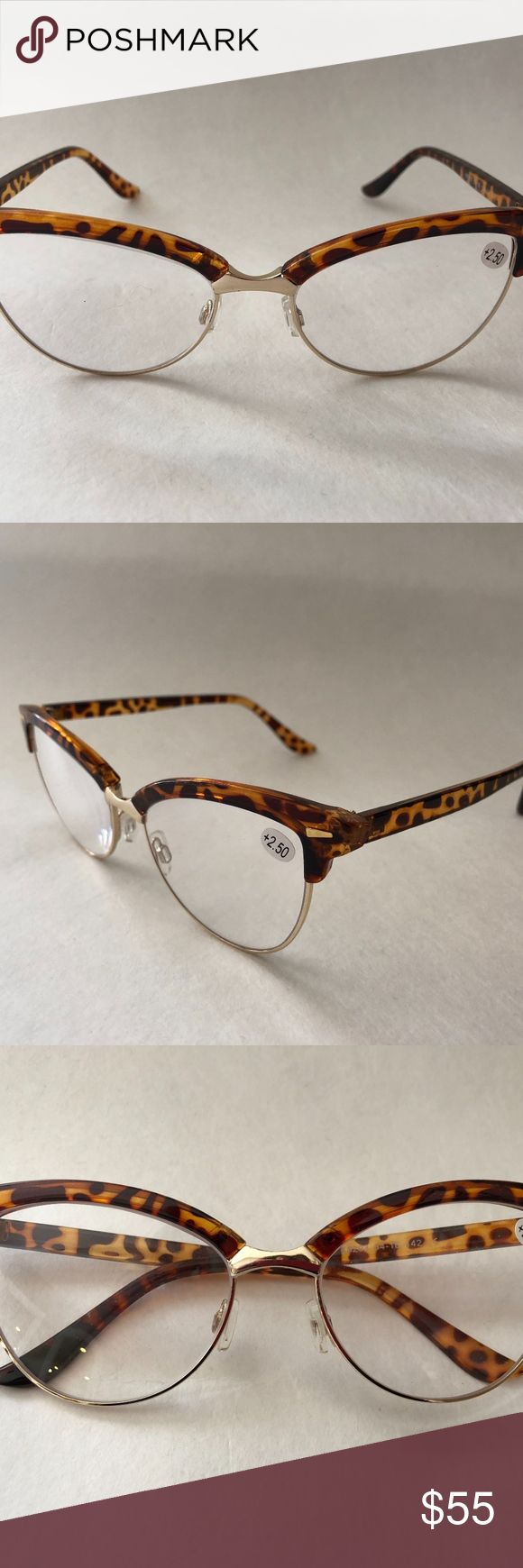 "FASHION TORTOISE CAT EYE READERS - NEW SUPER CUTE ""CAT EYE"" READING GLASSES  POWER +2.50  TORTOISE SHELL WITH GOLD RIM  BRAND NEW AND NEVER WORN  COMES WITH ORIGINAL MICROFIBER BAG  PERFECT CONDITION SOOLALA Accessories Glasses"