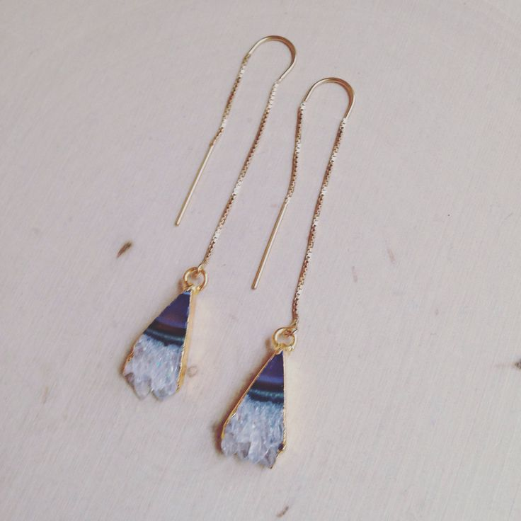 Amethyst Earrings - Gold Threader Earrings - Raw Amethyst Earrings - Jewelry -  Earrings - Dangle Earrings - Amethyst Geode - Geode Earrings by MalieCreations on Etsy