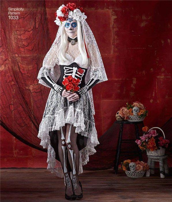 Femmes Jour des Morts Tête de Mort Calavera Senorita Masque Voile Halloween