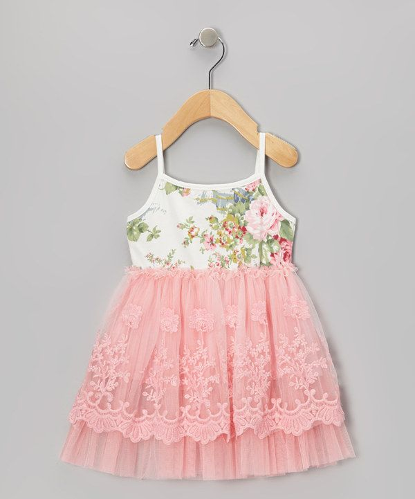 Take a look at this Pink Floral Lace A-Line Dress - Infant, Toddler & Girls on zulily today!