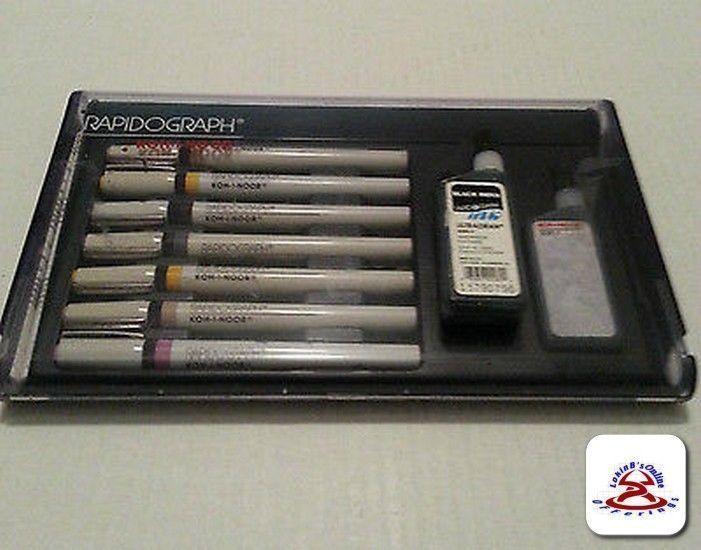 KOH-I-NOOR Rapidograph Technical Artist Pen Set of 7 Used #KohINoor