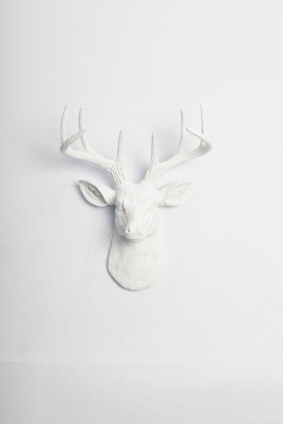 Faux cerf tête - le MINI Templeton - résine blanche Deer Head blanc bois de cerf montés