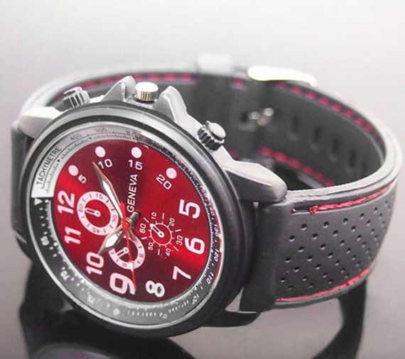 Hey, I found this really awesome Etsy listing at https://www.etsy.com/listing/217669152/mens-geneva-red-dial-black-silicone-band