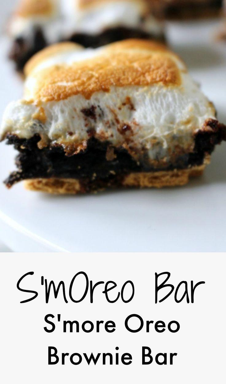 smore oreo brownie bar - SmOreo - super easy dessert!