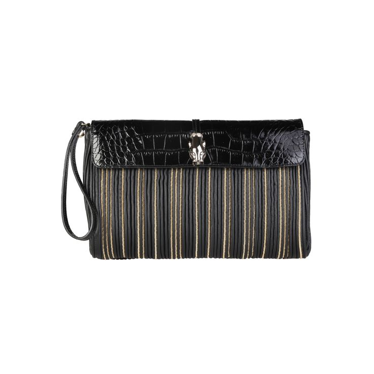 Cavalli Class – C50PWCEW0012  Clutch 2016 F/W Collection Women's bag has one removable handle, 2 external pockets, Magnetic fastening, removable shoulder strap and a dustbag. Inside it, there is are zipped pocket and mobile pocket. It's outside and lining composed of 100% leather and 100% cotton, respectively. It is of size 26*17*6 cm.  https://fashiondose24.com