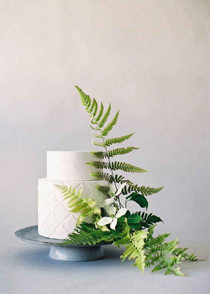 Wedding Cakes Decorated With Fresh Ferns