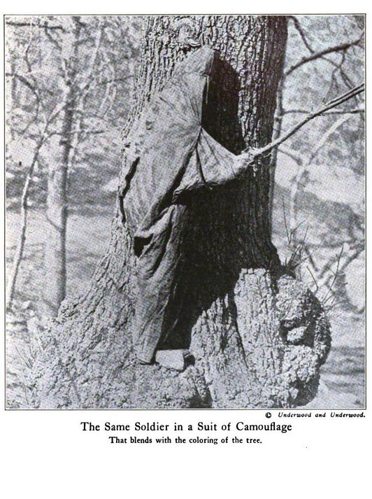 "WWI; ""Soldier in Suit of Camouflage that blends with the coloring of the tree."" - Harpers Pictorial Library of the World War, Vol 8. Archive.org"