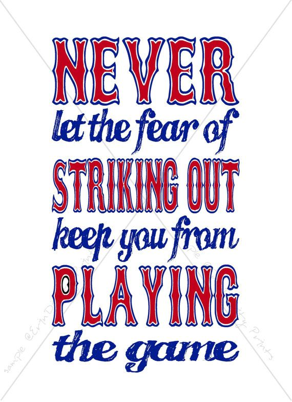 "A fun print to frame for a Baseball Party or Baseball Themed Bedroom:   ""Never let the fear of striking out keep you from playing the game!"" by ErinDipityPrints, $4.75 (Digital File)"