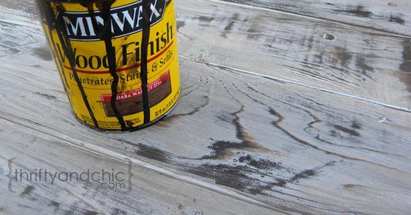 Liked on Pinterest: This is my favorite weathered wood stain technique - white paint sand a little