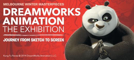 Melbourne Winter Masterpieces, DreamWorks Animation: The Exhibition, Journey From Sketch to Screen.  Visual of Po, from Kung Fu Panda