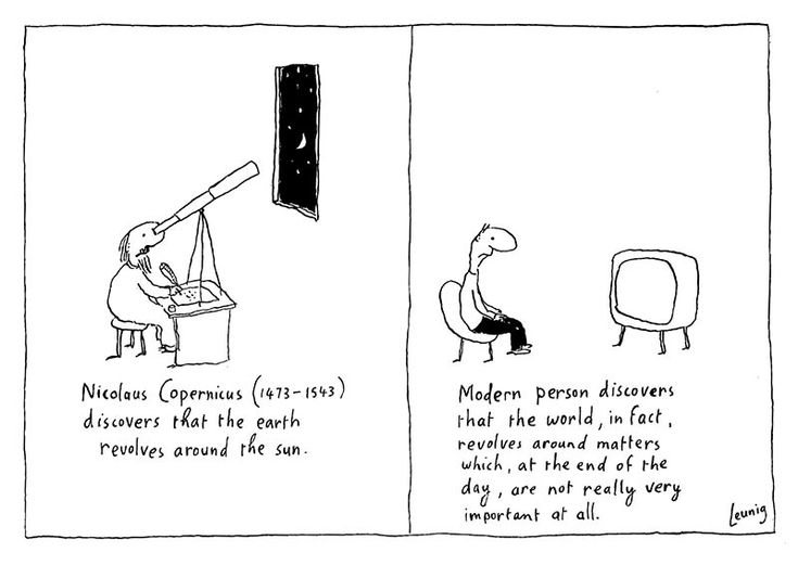 """Copernicus. Michael Leunig. As Jeremy Griffith honestly writes in FREEDOM: """"In the case of social media such as Facebook and Twitter, it allows people to be preoccupied/distracted [from the human condition] all day with inane, narcissistic, superficial self-promotion and gossip. The result of this extreme distraction from the 'agony inside' is that 'The youth of today are living their lives one mile wide and one inch deep' (Kelsey Munro, 'Youth skim surface of life', The SMH, 20/4/13)."""""""