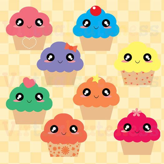 Kawaii Cupcake Clipart - Sweets Clipart, Food Clipart, Desserts Clipart, Cute Clipart, Yummy, Kawaii, Fun, Free Commercial and Personal Use