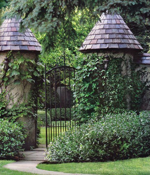 cool and greenFence, Wrought Iron Gates, Gardens Paths, Interiors Design, Gardens Gates, Gardens Design, The Secret Gardens, Manor House, Interiors Gardens