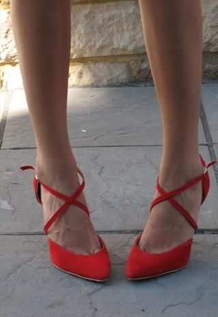 Red suede look pointed toe sandal (Jennifer)