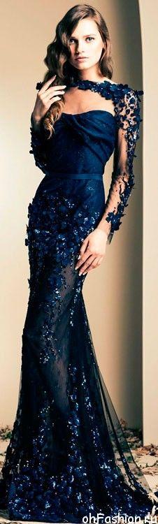 Эми Адамс в темно-синем, вечернем платье, расшитом цветами от ZIAD NAKAD