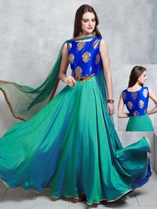 Shop Green cotton silk wedding wear designer anarkali salwar kameez online from G3fashion India. Brand - G3, Product code - G3-WSS12942, Price - 6895, Color - Green, Fabric - Cotton Silk,
