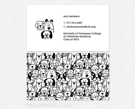 business cards for veterinary clinics and veterinary students