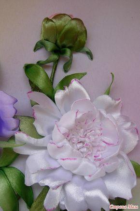 Огромным блюдцем розового чая пион раскрылся, нежность источая... Вышивка  или аппликация лентами