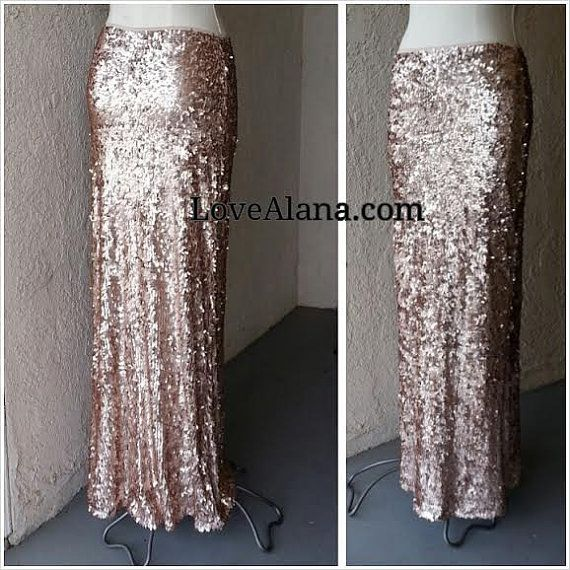Maxi Matte Gold Champagne/Copper -Gorgeous high quality sequins- Long sequined skirt