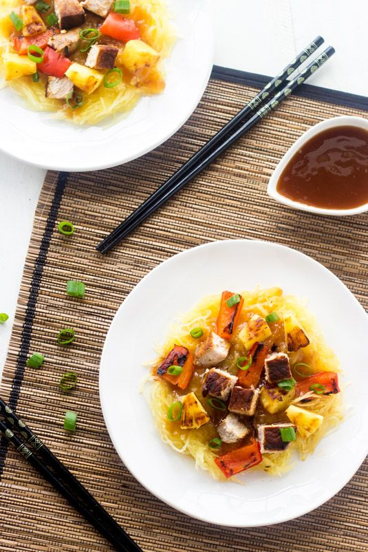 Grilled Sweet and Sour Pork with Spaghetti Squash - A healthy twist on a classic. You won't miss the fried version! | Foodfaithfitness.com | #recipe #spaghettisquash #pork