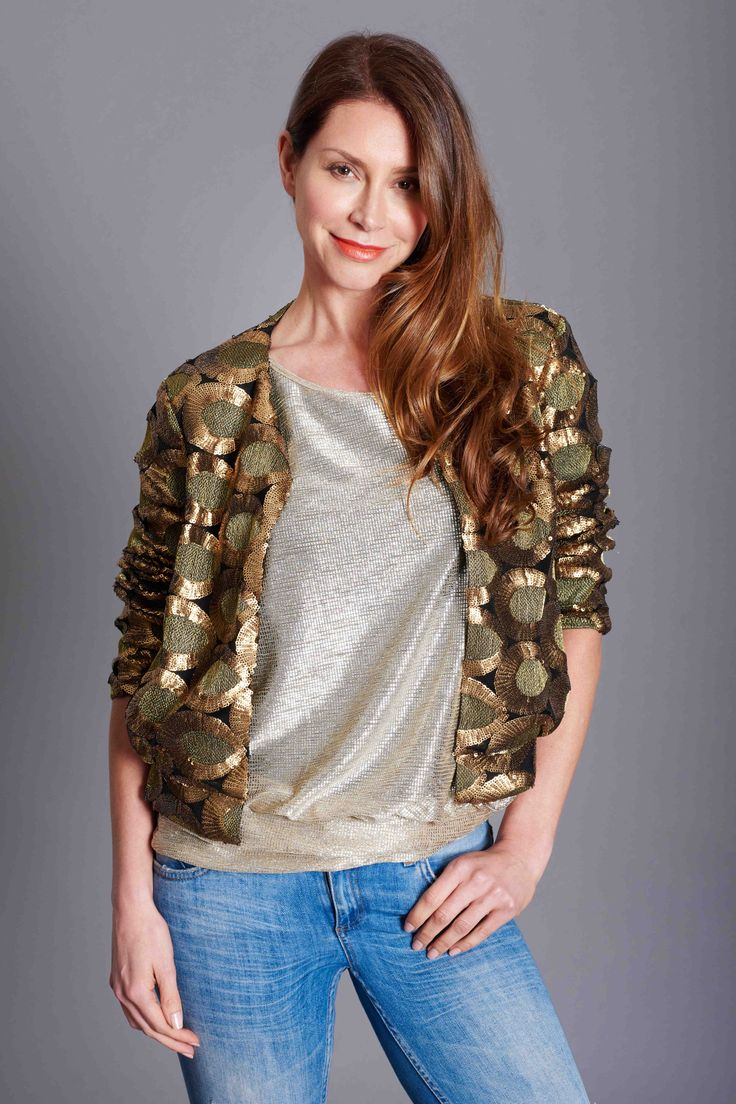 Baz summer shimmer.  Bomber jacket, fully beaded with gold Baz T.   Jacket great worn with jeans and dressed up over Baztan. www.bazinc.com.au