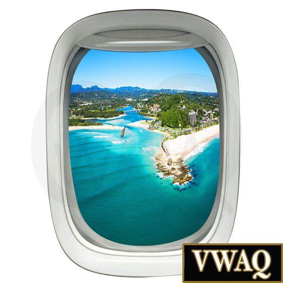 3d Porthole Airplane Window Decal Aerial View Beach Scene