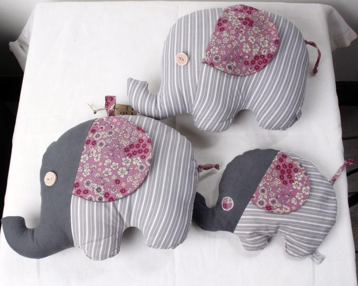 Bouillotte sèche éléphant, noyaux de cerise, tons gris et rose, tissu Liberty
