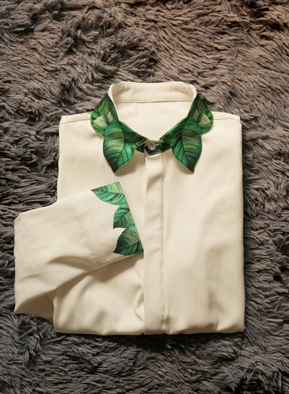 Fine Art Collection White Green Spring Leaves Collar and Cuffs Unique Shirt / Skirt