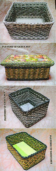Плетение из газет - Плетение из газетных трубочек. Узор «Ситцевое плетение с перетяжкой»
