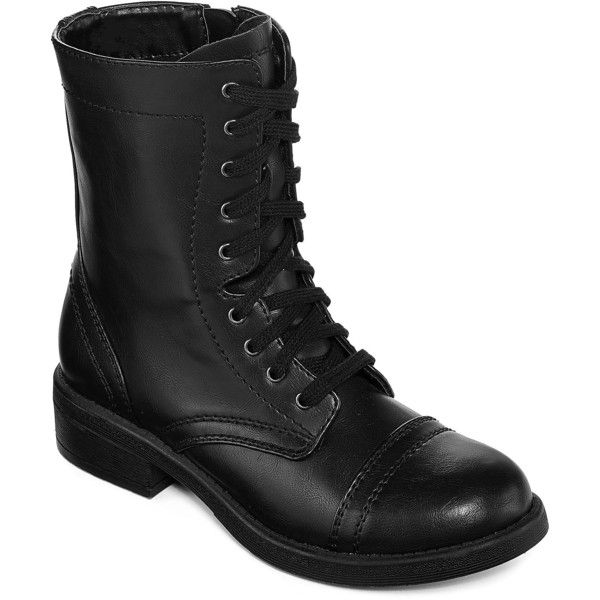 Arizona Julie Womens Combat Boots ($36) ❤ liked on Polyvore featuring shoes, boots, arizona shoes, army boots, combat boots, arizona footwear and combat booties