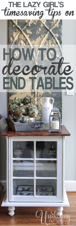 The five best tips on how to quickly decorate a bookshelf, end table or nightstand. It's simple, and I'll show you how right here: http://unskinnyboppy.com/2014/04/lazy-girls-timesaving-tips-decorating-end-tables/