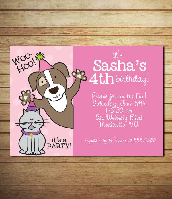 kitty and doggy invitations - Google Search