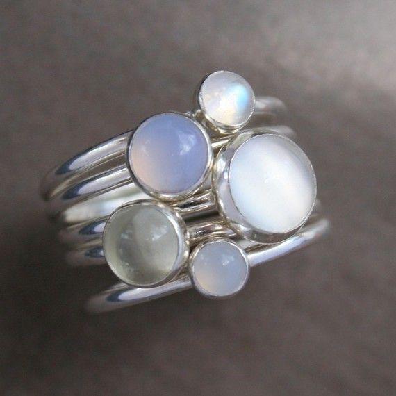 Moonstone stacking rings
