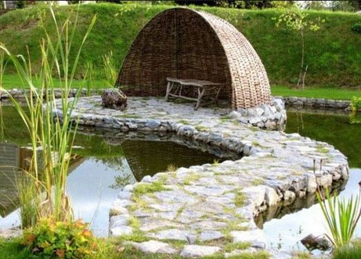 Brigit s Celtic Garden in Galway Ireland This island in the pond is another  interesting idea  The simple shape and half moon shelter nicely compliment  each. 29 best wild garden design images on Pinterest   Gardens
