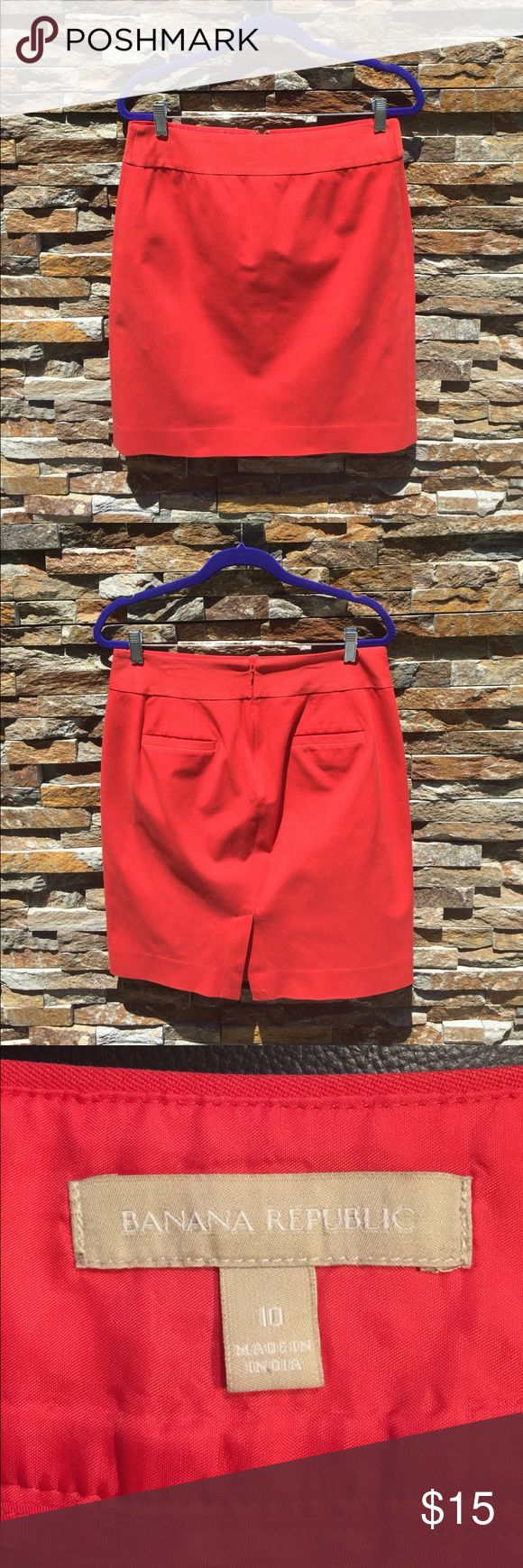 Banana Republic coral pencil skirt The color is beautiful and the fabric is comfortable with a little stretch Banana Republic Skirts Midi